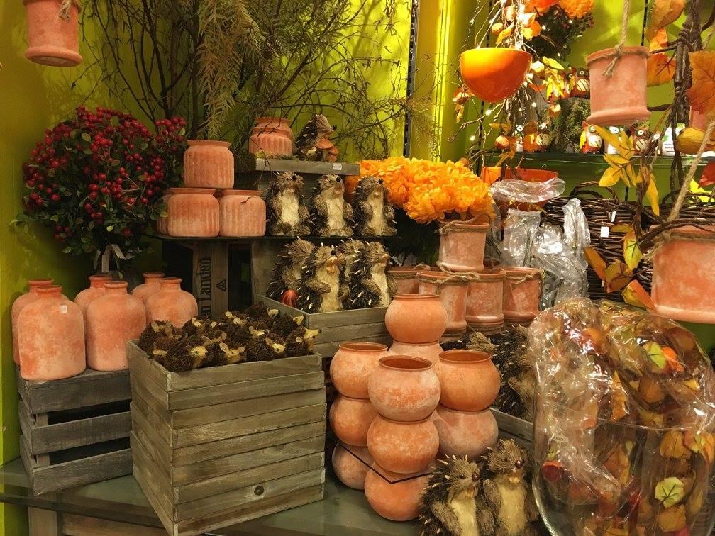 Herbstwelten-Kürbis-Körbe-Sonnenblume-Pilze-Ton-Leiter-Knuellermarkt